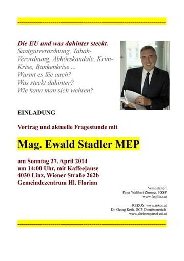 Einladung zum Vortrag mit Mag. Ewald Stadler in Linz